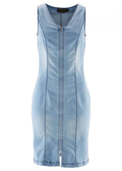 Džínsové šaty so zipsom