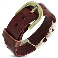 Šperky eshop - Náramok z kože - červený pás previazaný béžovými šnúrkami S10.04