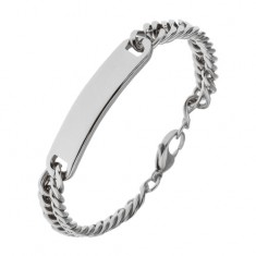 Šperky eshop - Náramok z chirurgickej ocele s lesklou obdĺžnikovou platničkou