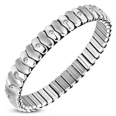 Šperky eshop - Rozťahovací náramok z chirurgickej ocele - matné a lesklé srdiečkové články