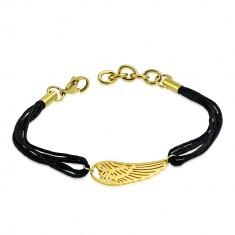 Šperky eshop - Šnúrkový náramok z chirurgickej ocele - anjelské krídlo v zlatom farebnom odtieni S12.30