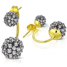 Šperky eshop - Náušnice z chirurgickej ocele - lesklý oblúk zlatej farby