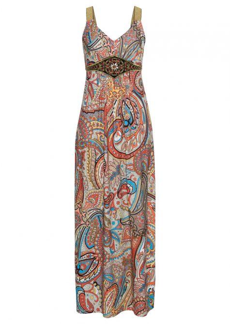 Letné šaty s potlačou a aplikáciou