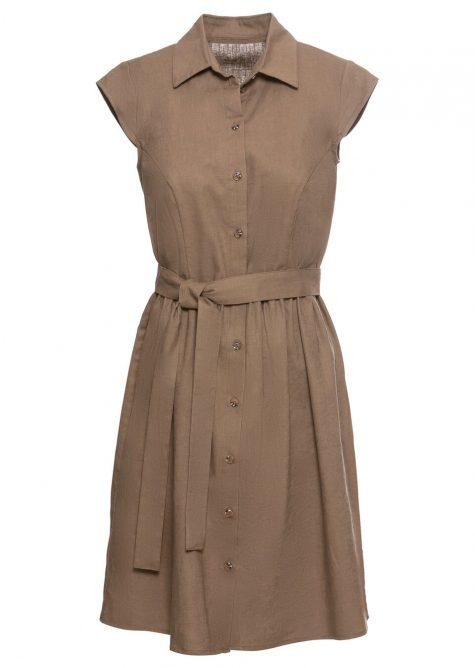 Plátené blúzkové šaty s gombíkmi