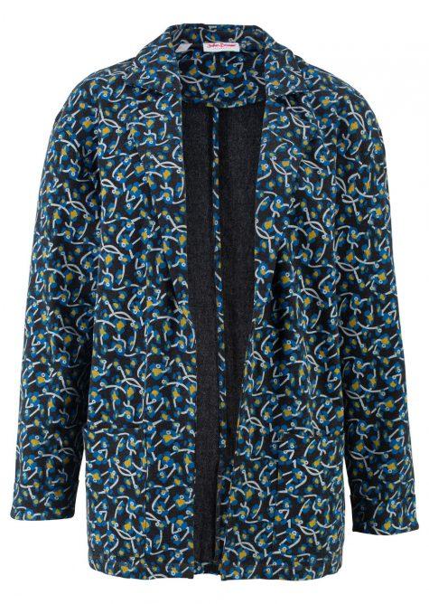 Dlhá mikinová bunda z ľahko padavého materiálu
