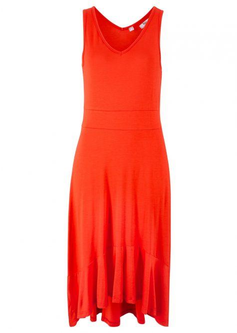 Džersejové šaty s asymetrickým volánovým zakončením