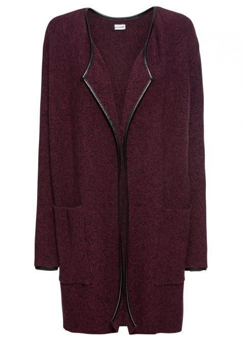 Dlhý pletený sveter s koženkovou ozdobou