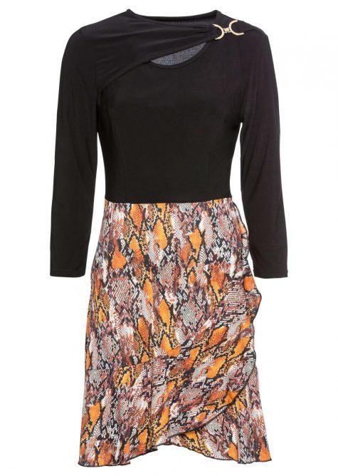Džersejové šaty s potlačenou sukňou