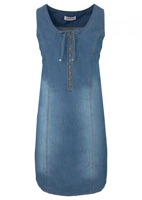 Džínsové šaty v strihu do A