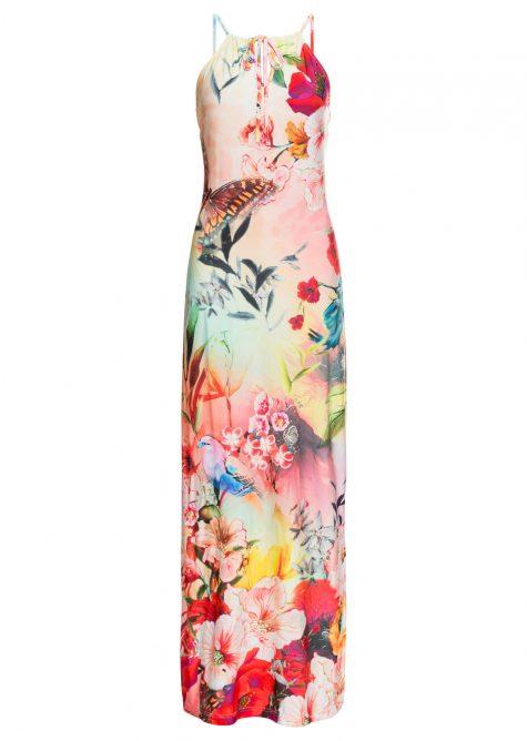 Letné maxi šaty s kvetovanou potlačou
