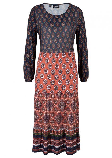 Midi šaty s volánmi a pačvorkovým vzorom