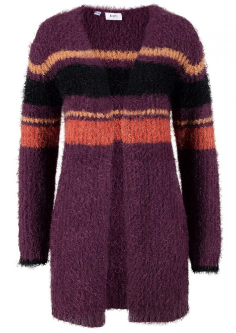 Otvorený pletený sveter s pásikmi