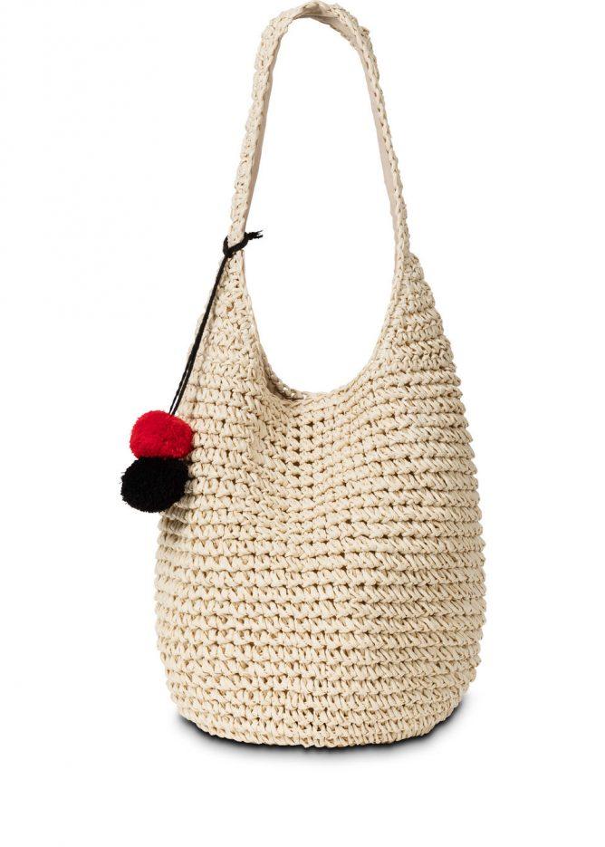 Plážová taška s pestrými brmbolcami
