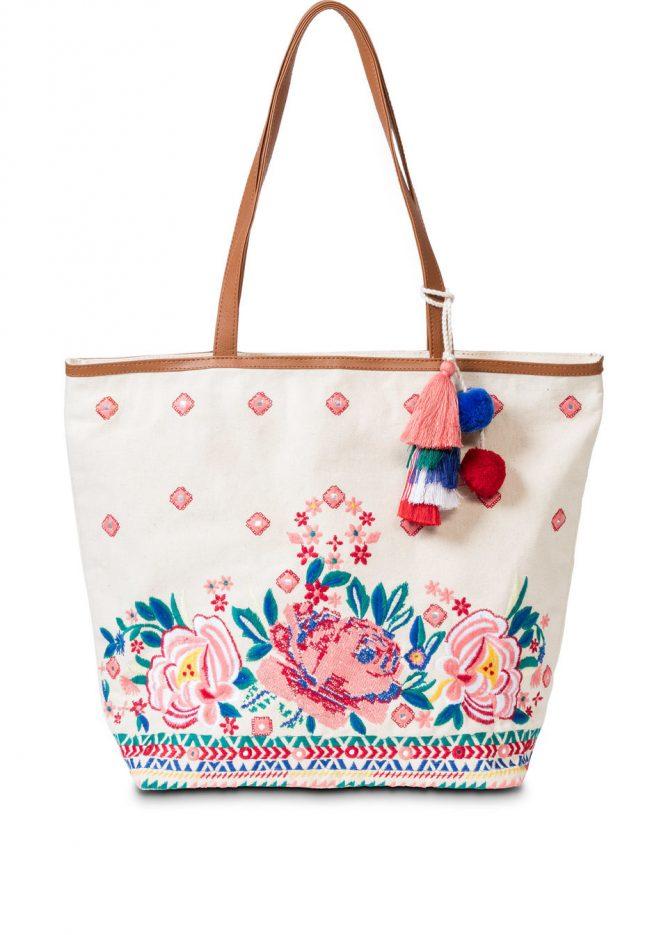 Plážová taška shopper s výšivkou