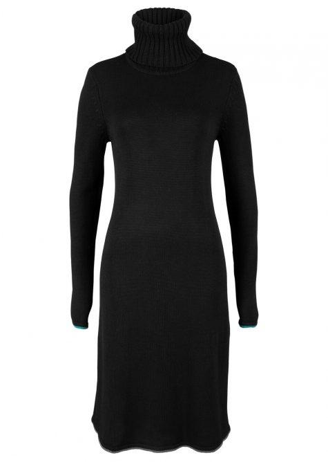 Pletené šaty s kontrastnými pásikmi